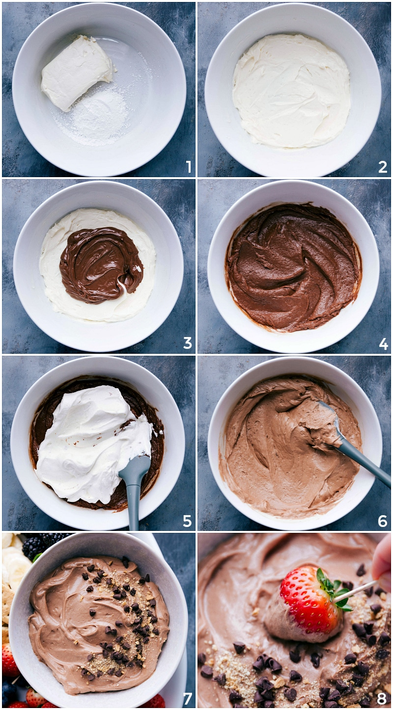 Process shots-- images of the dip being made, mixing together the cream cheese, adding the Nutella and then the whipped cream.