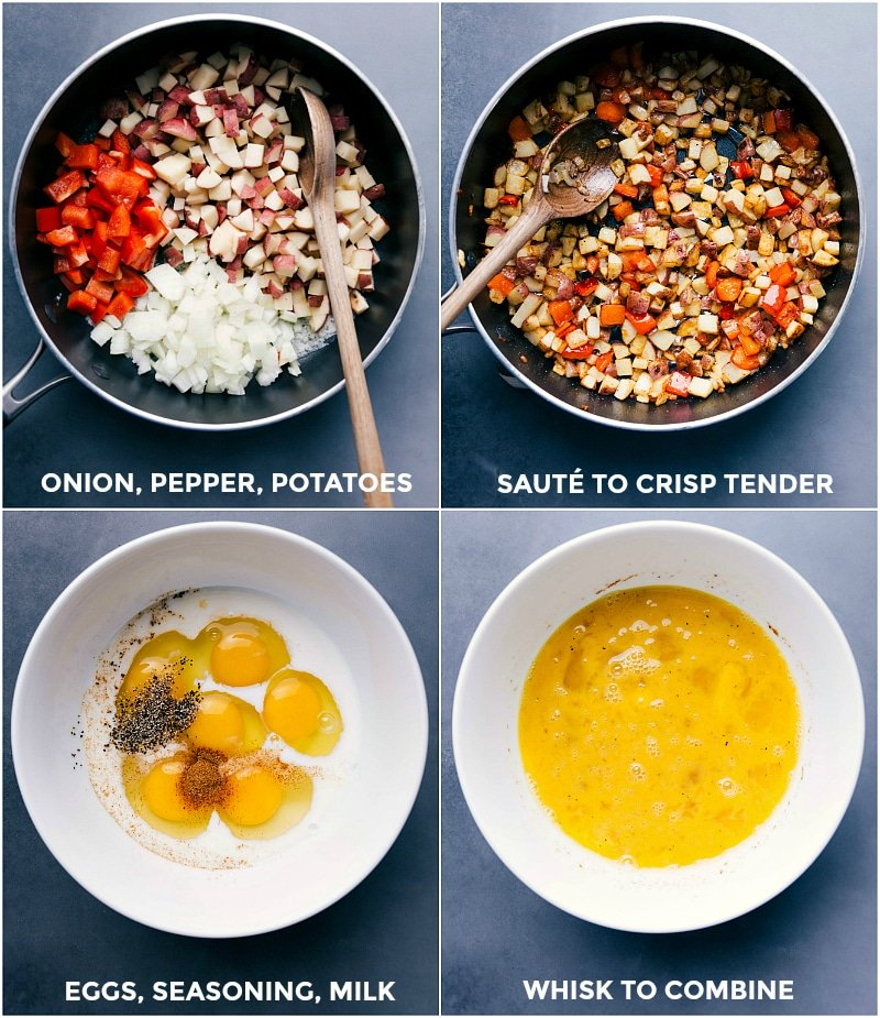 Process shots-- images of the fresh veggies being sautéed; the eggs being whisked and combined with seasonings.