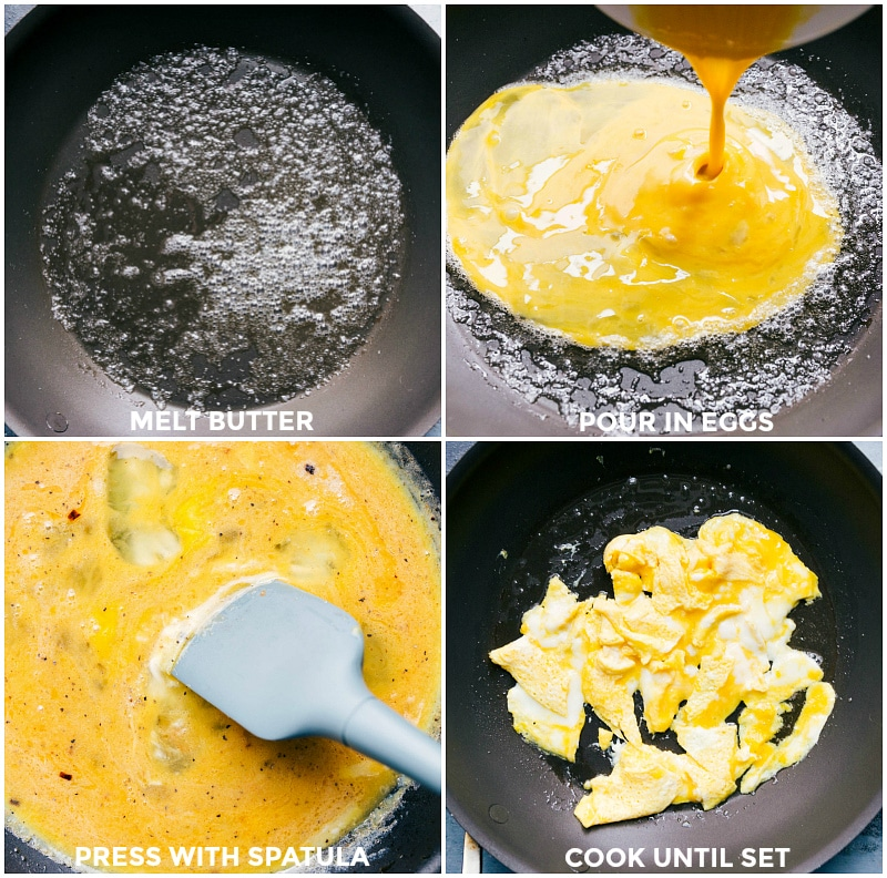 Process shots of the eggs being cooked in a skillet with butter.