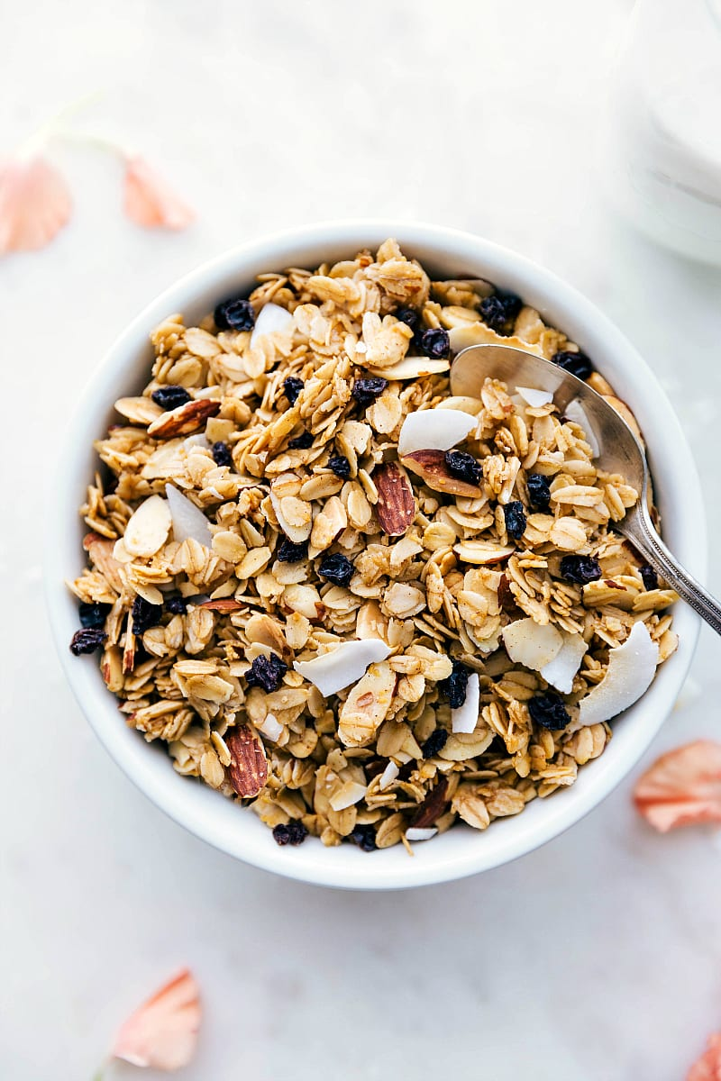 Up close overhead shot of a bowl of granola