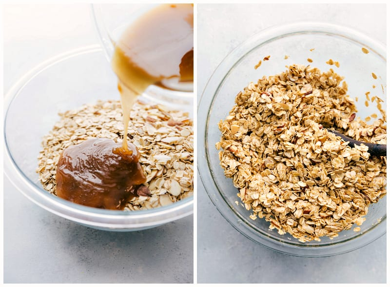 Step by step process of making homemade granola