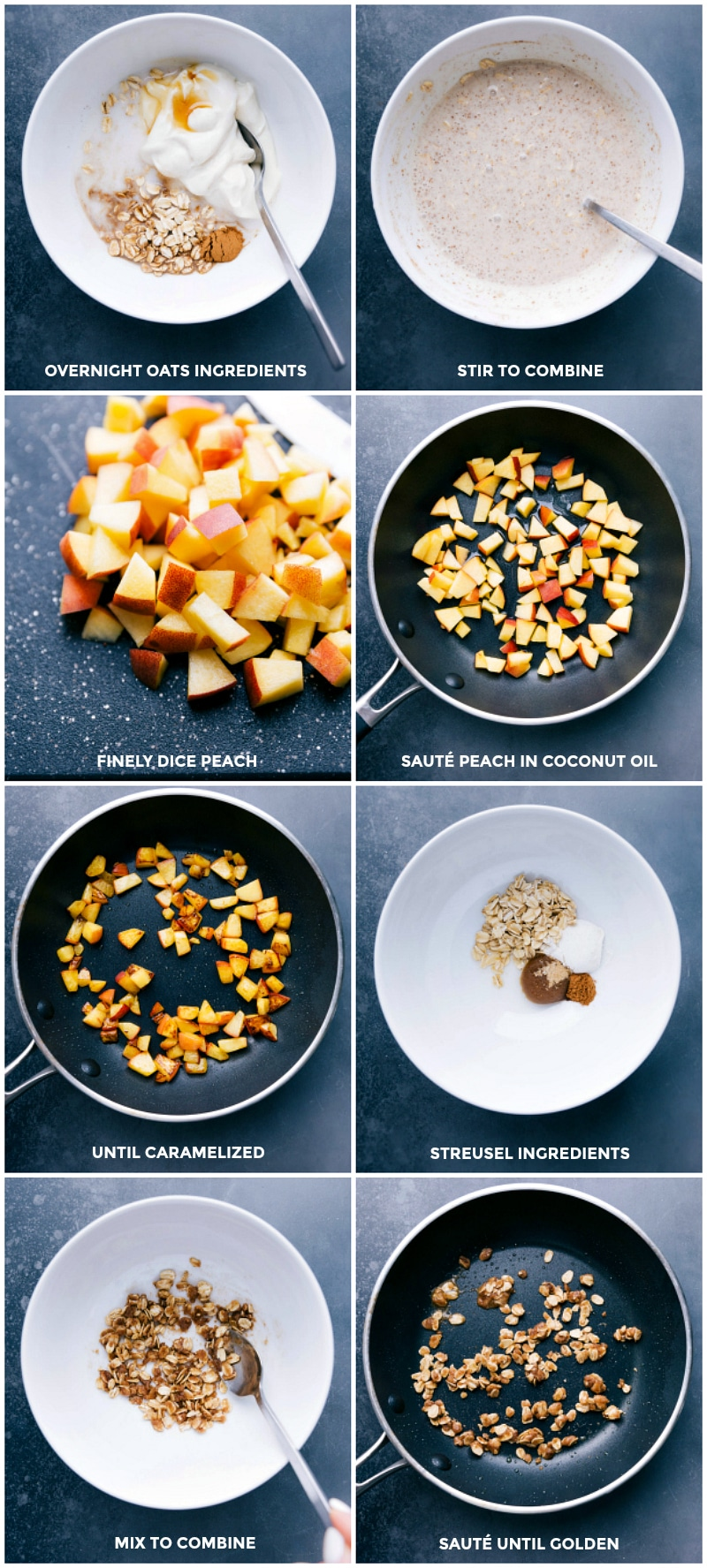 Process shots-- images of all the ingredients being mixed together for Peach Overnight Oats; the fresh peaches being caramelized; and the streusel being prepared.