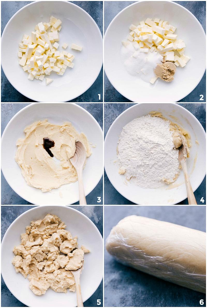 Process shots of the dough-making process.