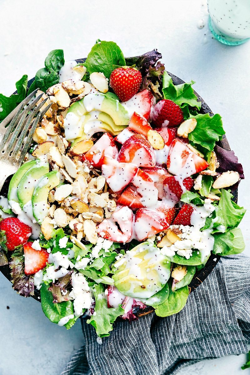 Overhead view of Strawberry Poppy Seed Salad in a large serving bowl.