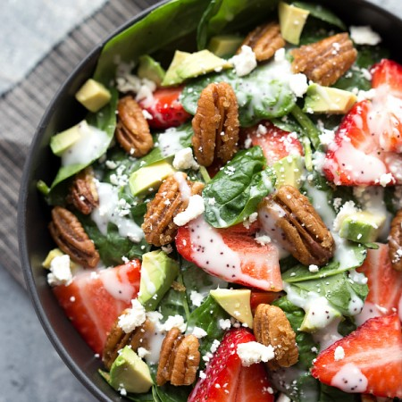 Strawberry and Avocado Spinach Salad with Stovetop Candied Pecans