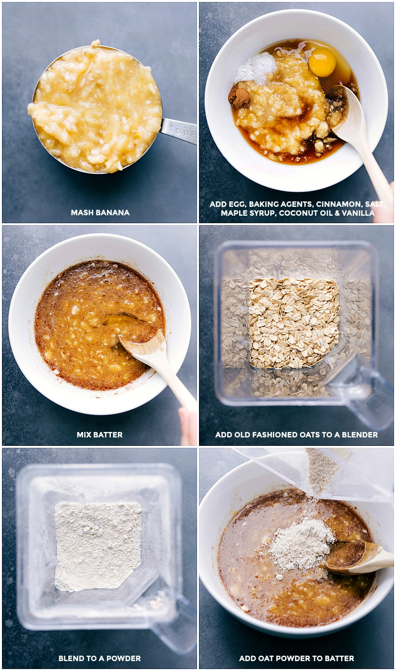 Process shots-- images of all the ingredients being added to a bowl; being mixed together; then the oats being blended; added to the batter for Flourless Banana Muffins.