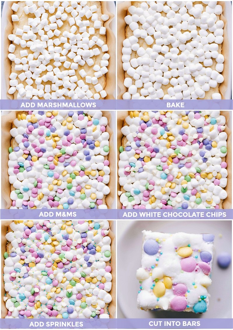 Process shots-- images of the marshmallows; M&M's, and white chocolate chips being added to the bars.