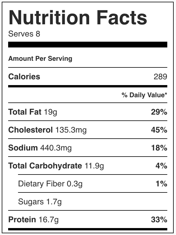 Nutrition facts in a slice of ham and cheese quiche