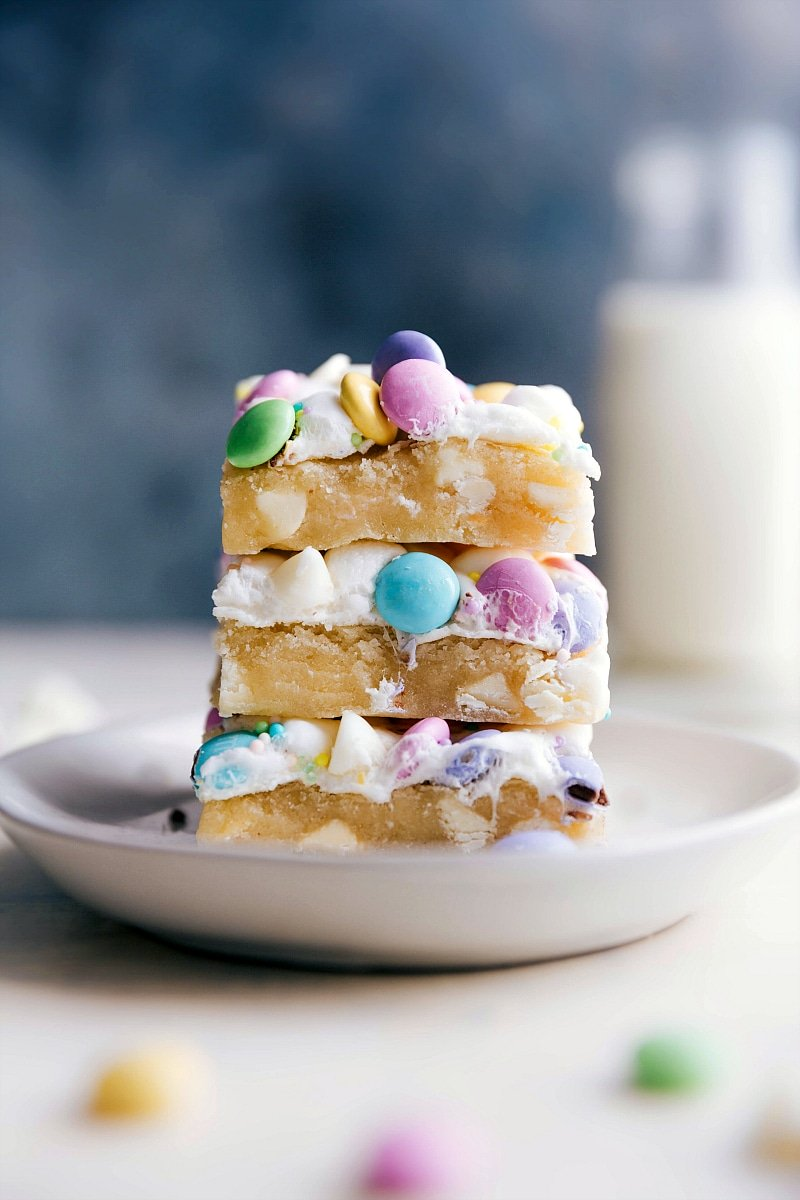 Image of Confetti Bars stacked on top of each other, ready to be eaten.