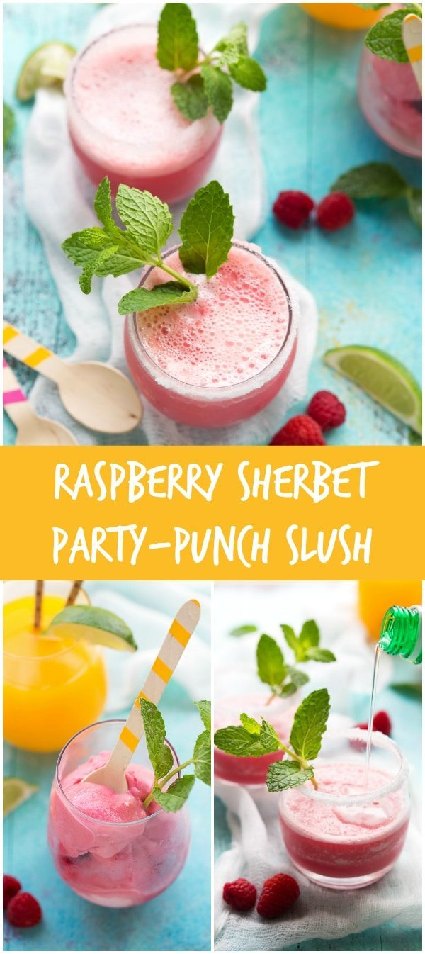 3-ingredient Raspberry Sprite Slush- the perfect party drink!