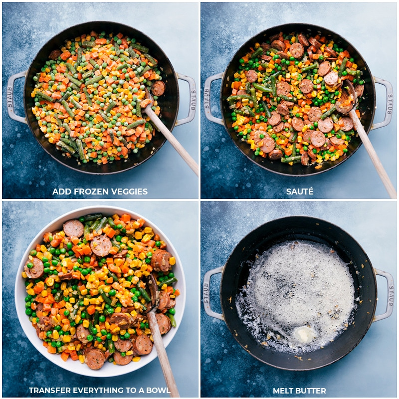 Process shots--immages of the frozen veggies bring sautéed and everything being transferred to a new bowl