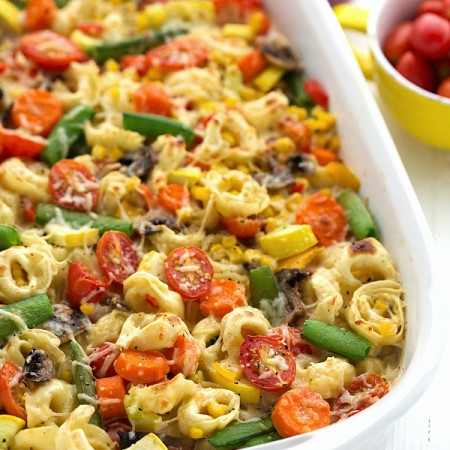 Creamy Tortellini Vegetable Bake