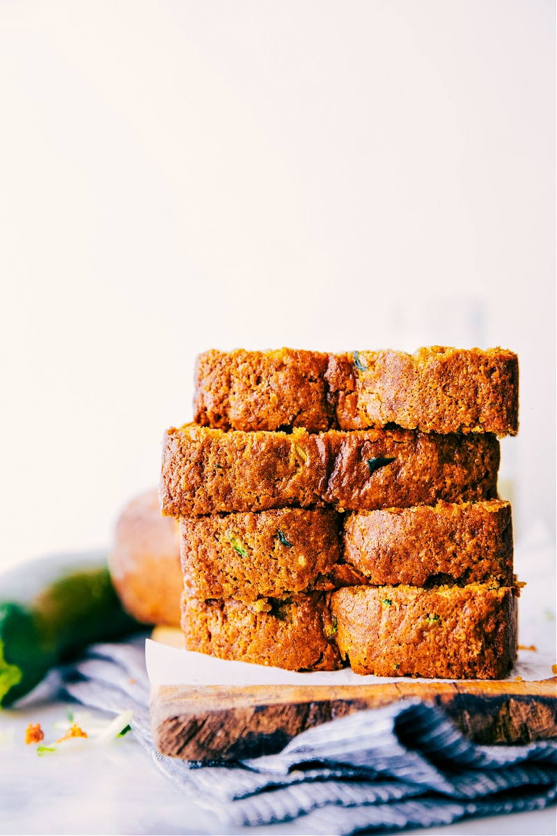 Image of the healthy zucchini bread with slices stacked
