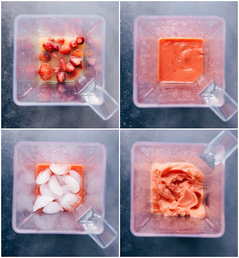 Process shots-- images of all the ingredients being added to a blender; being blended; adding ice to the mixture; blending it all again.