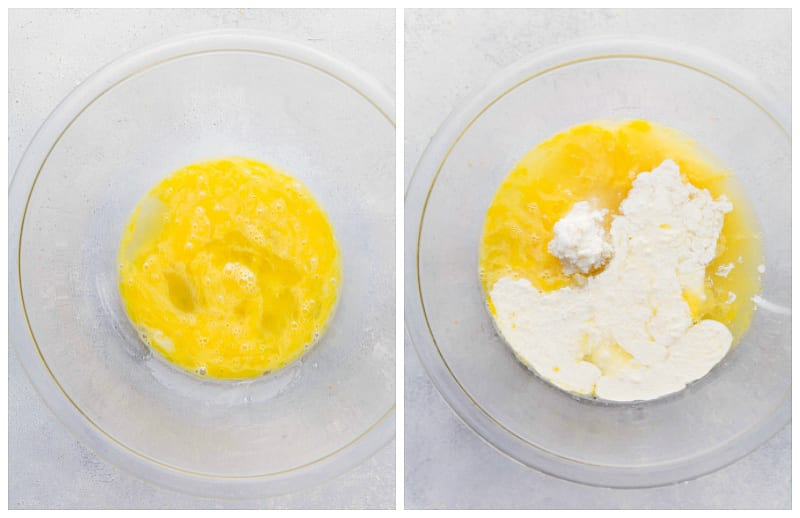 Step by step process shots of creating the custard for the lemon bars filling
