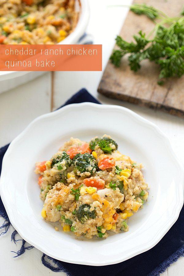 Secretly healthy cheddar ranch chicken quinoa bake - the creamy flavor comes from Greek yogurt!
