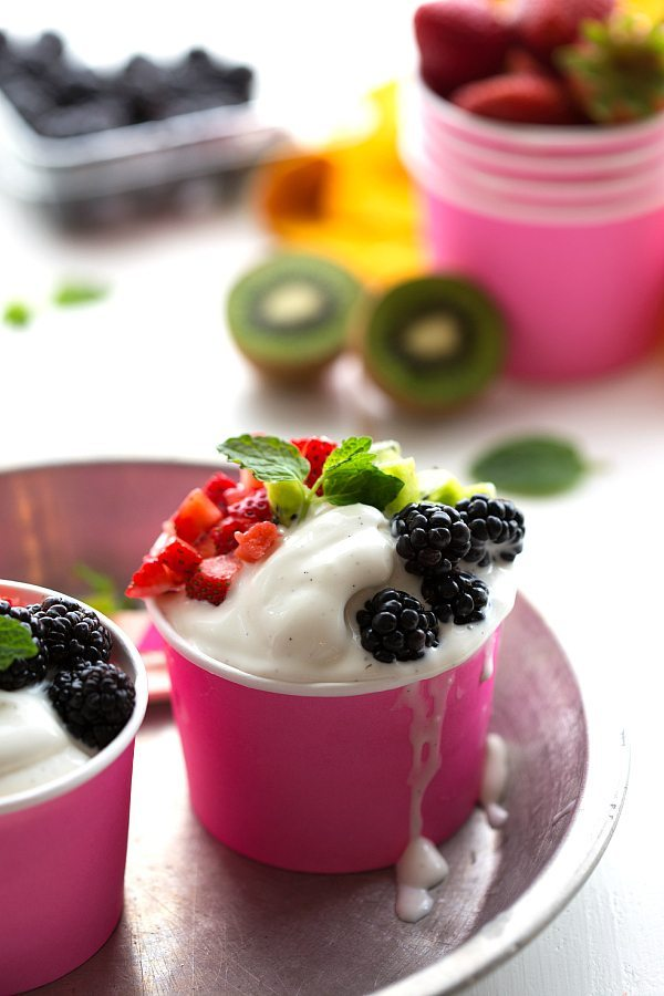 Super simple 4-ingredient vanilla frozen Greek yogurt
