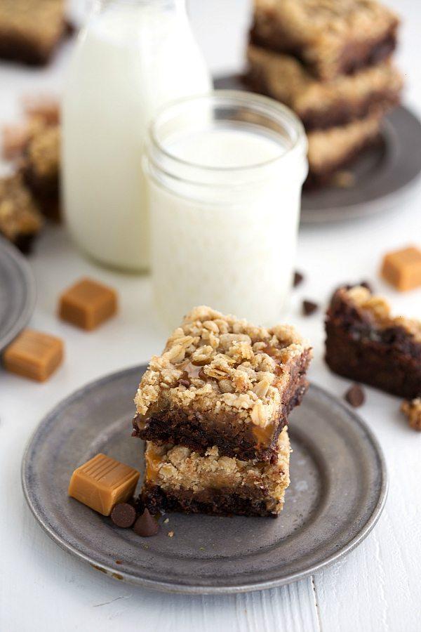 Caramel Brownie Oatmeal Cookie Bars