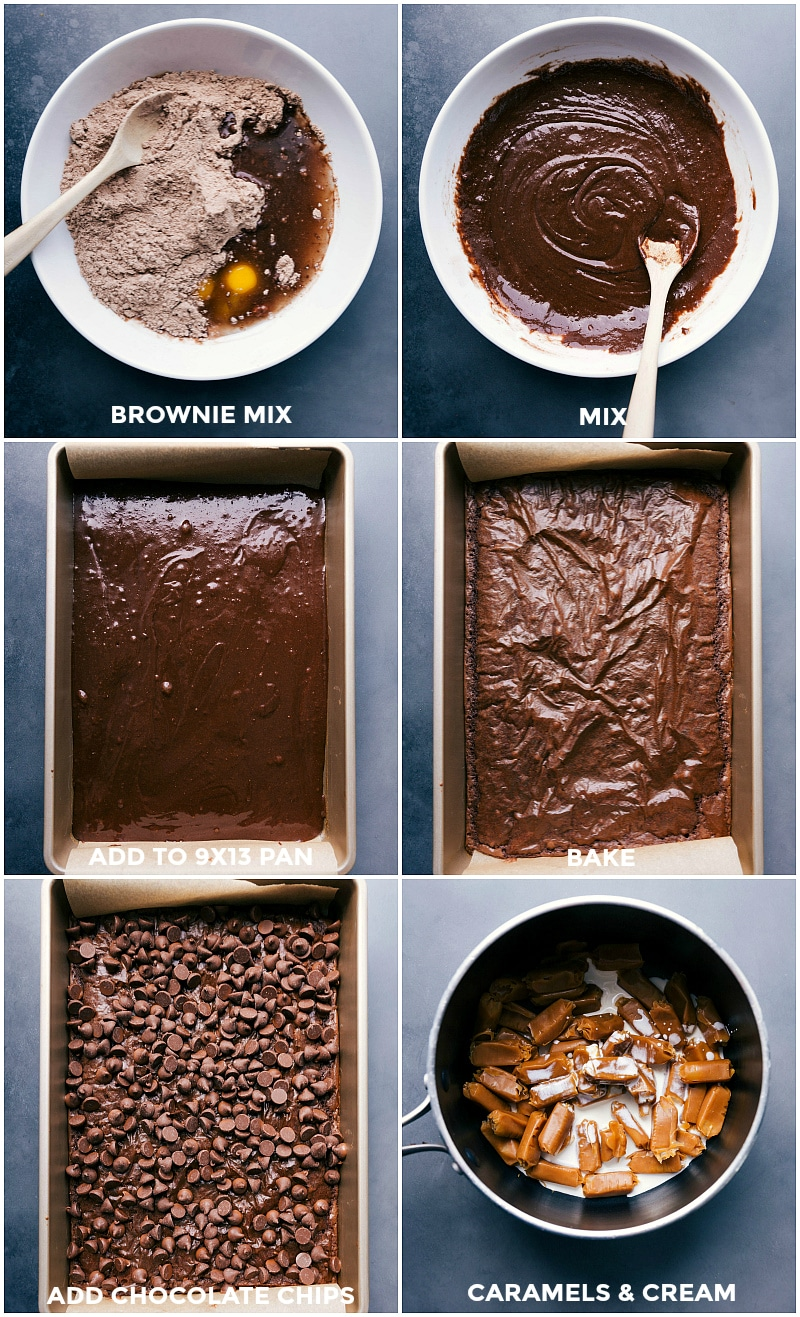 Process shots-- images of the brownie layer being baked; chocolate chips being layered; and the caramels and cream being added to a sauce pan.