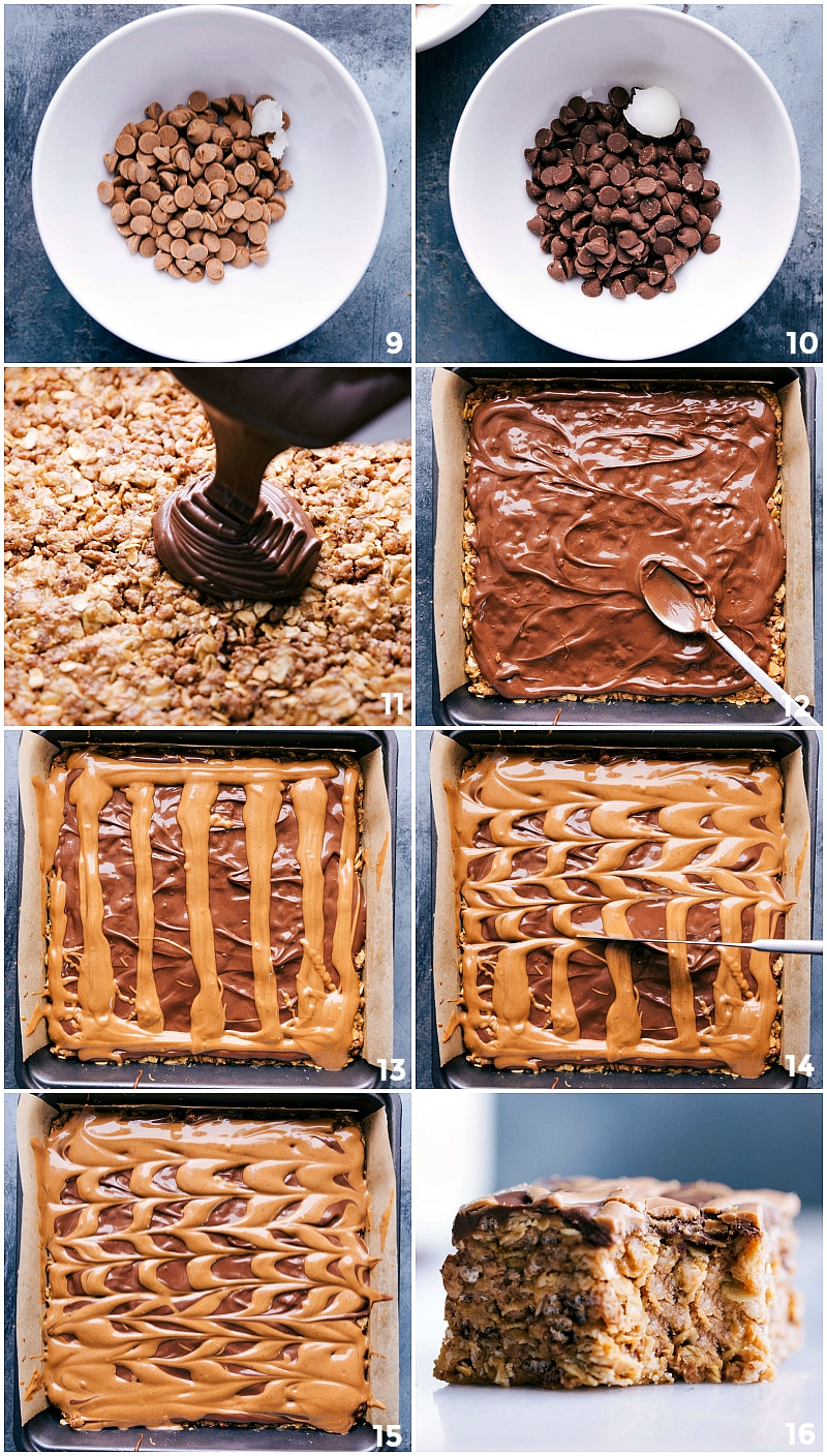 Images of the chocolate peanut butter topping being made and poured on top of the bars