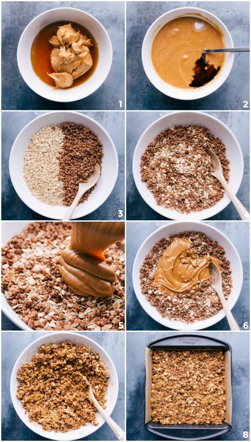Process shots-- images of the ingredients being mixed together and poured over the cereal and put into a pan