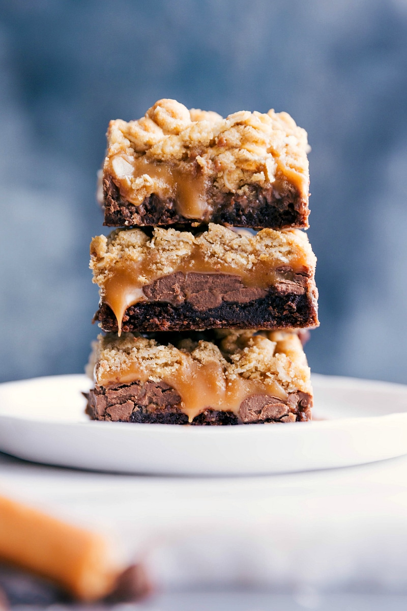 Up close image of the cookie brownie bars ready to be eaten
