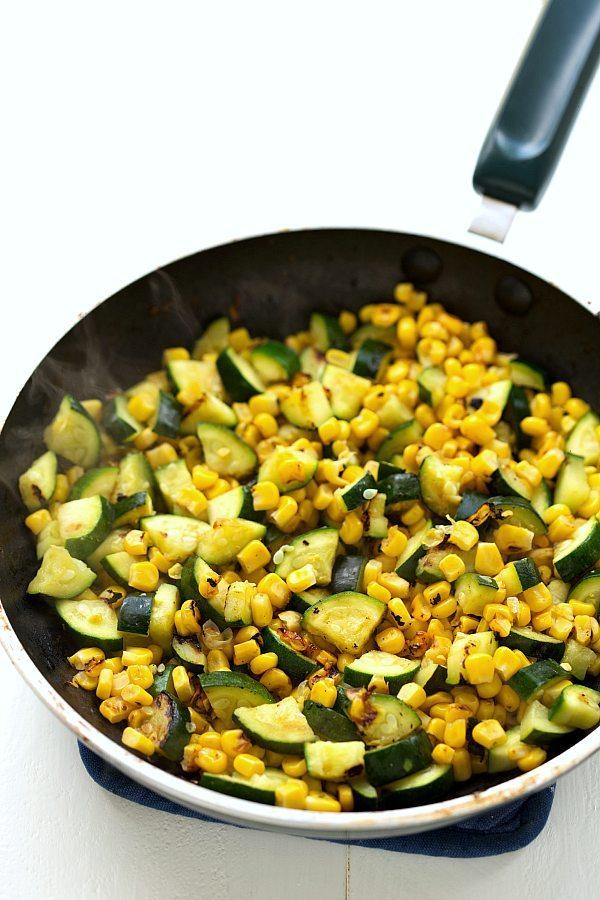 Easy Roasted Corn, Zucchini, and Avocado Pasta Salad