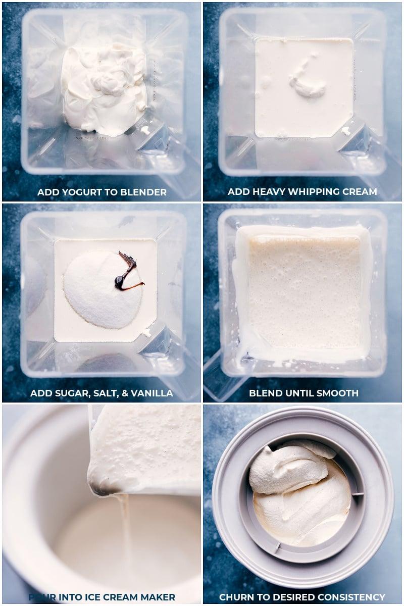 Process shots: blending the mixture for Frozen Yogurt.