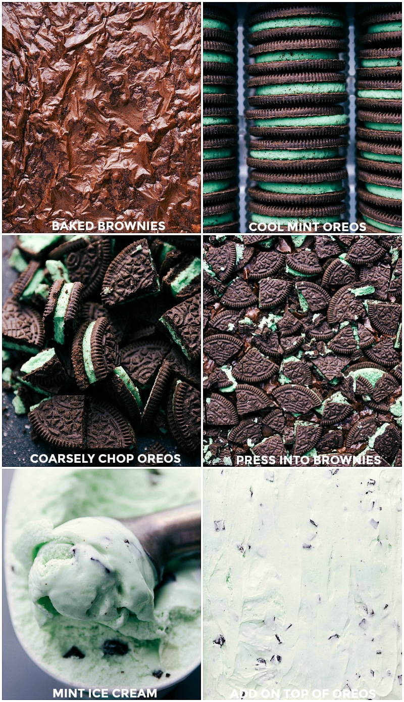 Collage of baked brownies; stacks of the Cool Mint Oreos; chopped Oreos; Oreos being pressed into the hot brownies; chocolate mint ice cream being scooped; softened ice cream spread on top of the brownies.