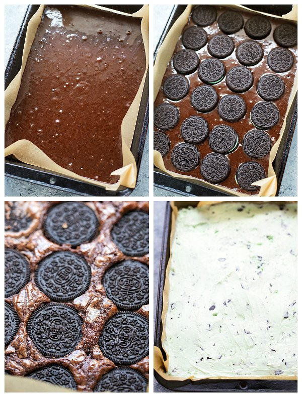 Mint chocolate brownie oreo ice cream bars