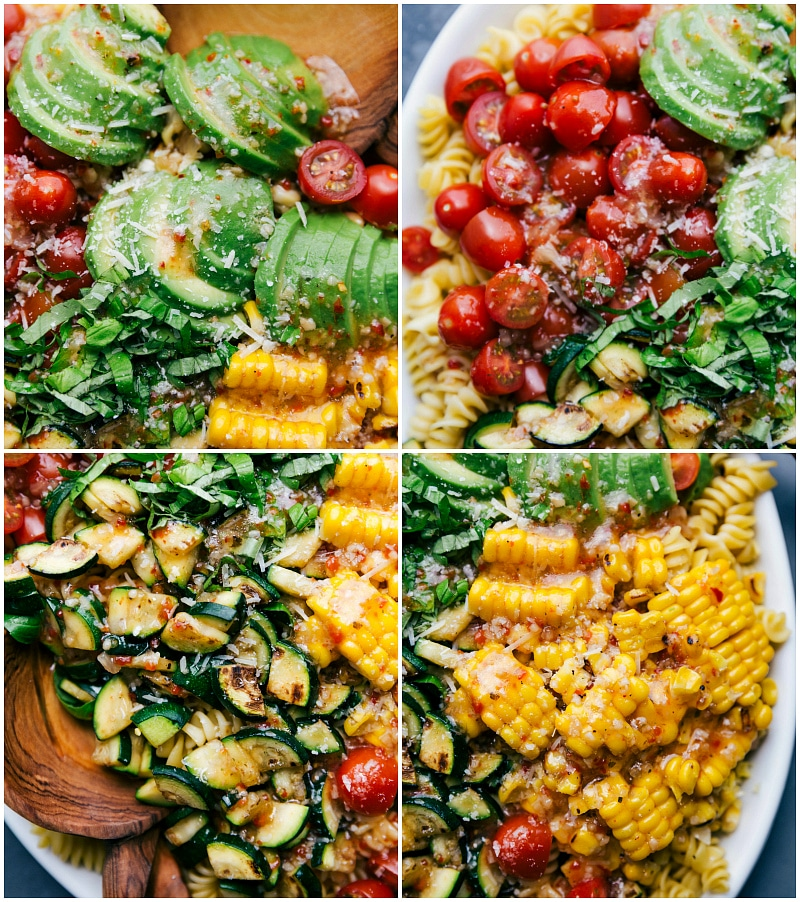 Up-close shots of all the components of this salad: avocados, tomatoes, zucchini, and corn.