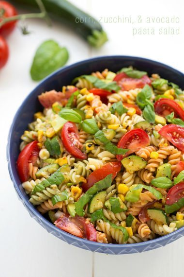 Corn, Zucchini, and Avocado Pasta Salad