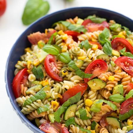 Corn, Zucchini, and Avocado Pasta Salad