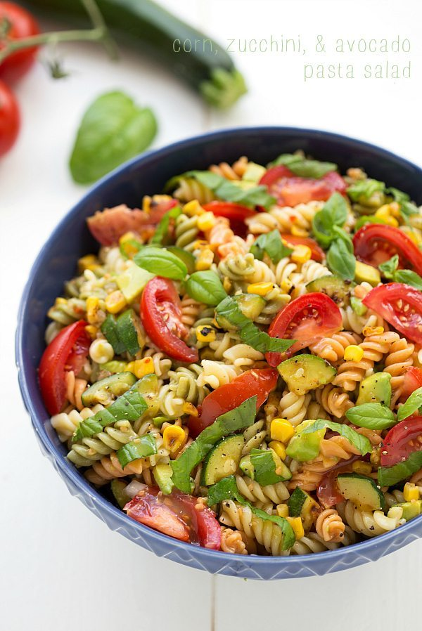 Roasted Corn, Zucchini, and Avocado Pasta Salad