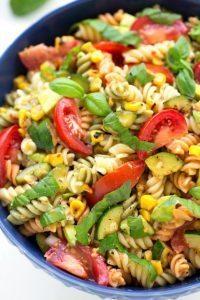 Simple Roasted Corn, Zucchini, and Avocado Pasta Salad
