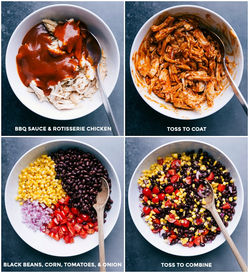 Process shots: mix BBQ sauce and rotisserie chicken; assemble black beans, corn, tomatoes and onions; toss to combine.