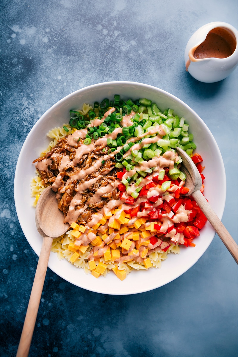 Overhead image of BBQ Pasta Salad
