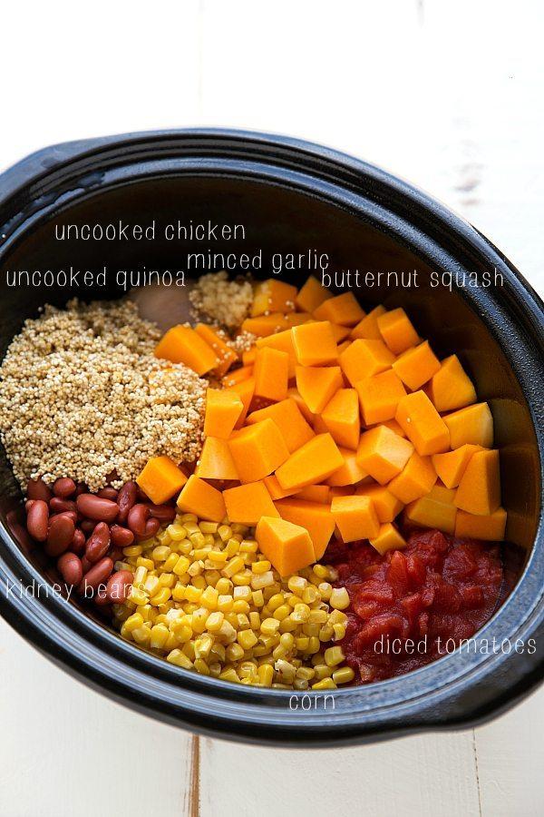 Crockpot Butternut Squash, Chicken, & Quinoa Soup