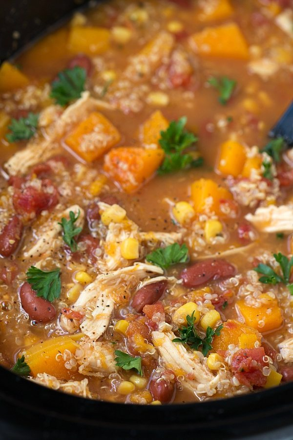 Crockpot butternut squash chicken and quinoa soup for Healthy crockpot recipes with chicken