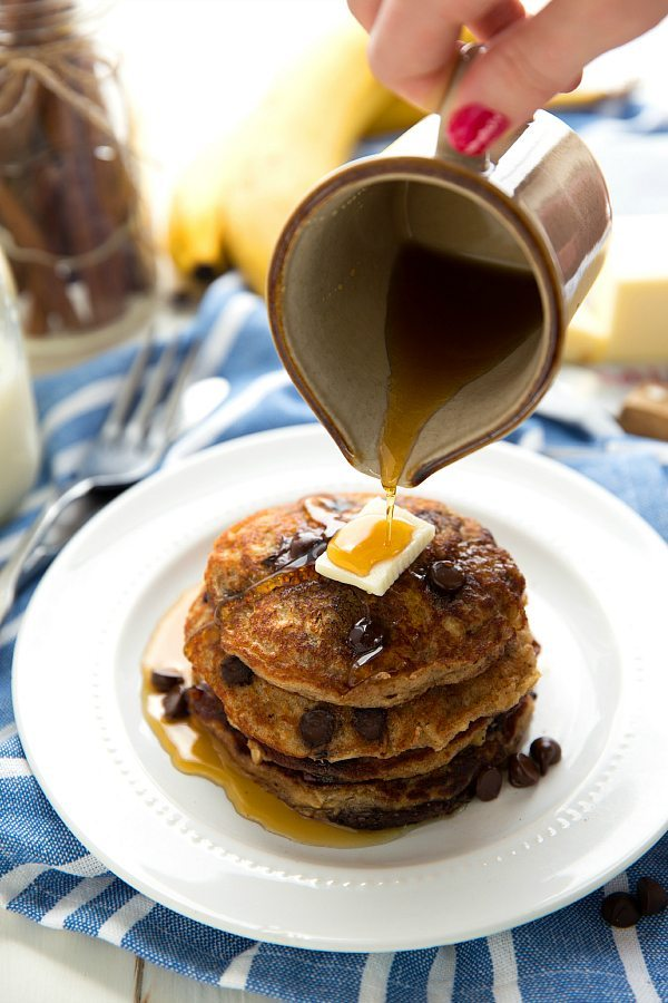 Flourless Chocolate-Chip Cookie Pancakes - no butter or flour!