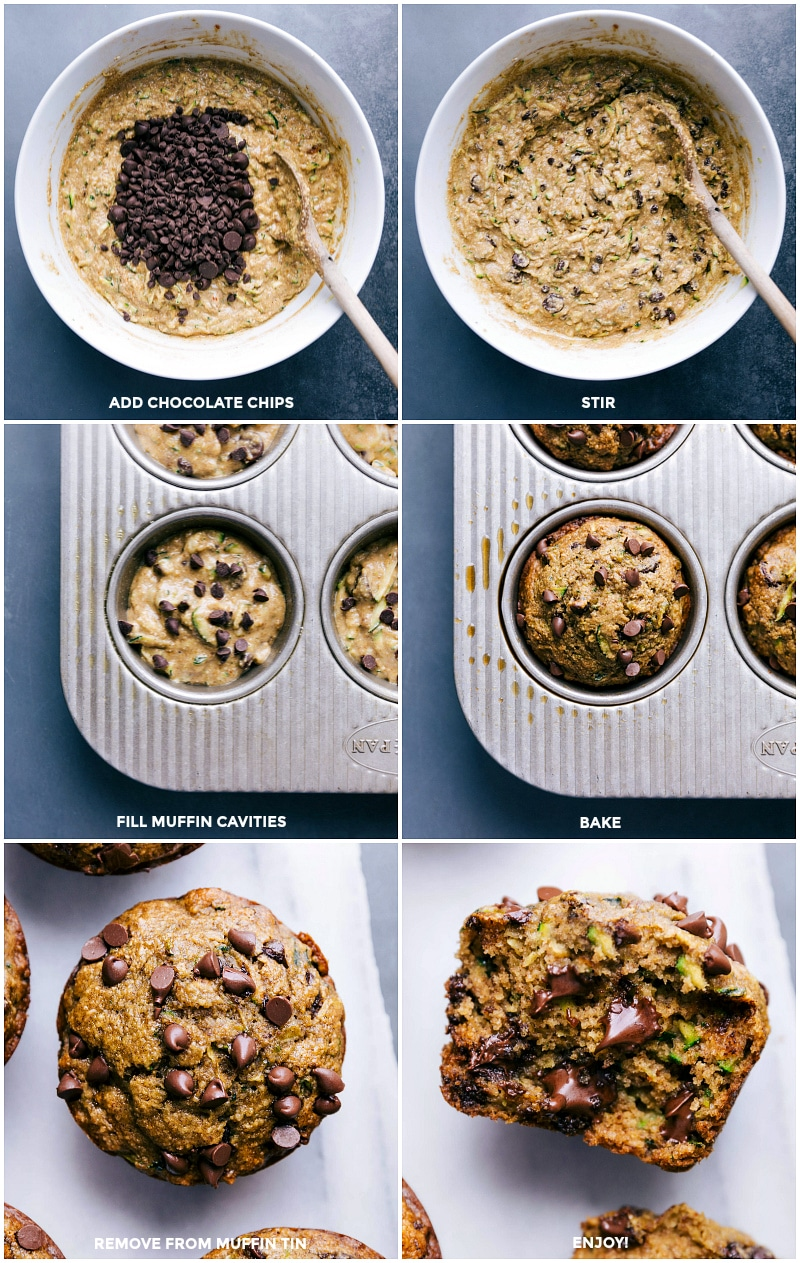Process shots: add chocolate chips; stir; fill muffin cavities; bake; remove from oven; ready to eat.