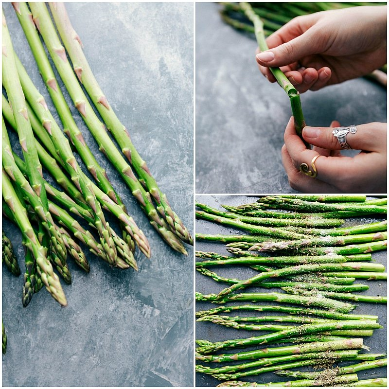 View of asparagus spears, demonstrating how to remove woody stems, and showing them sprinkled with seasonings.