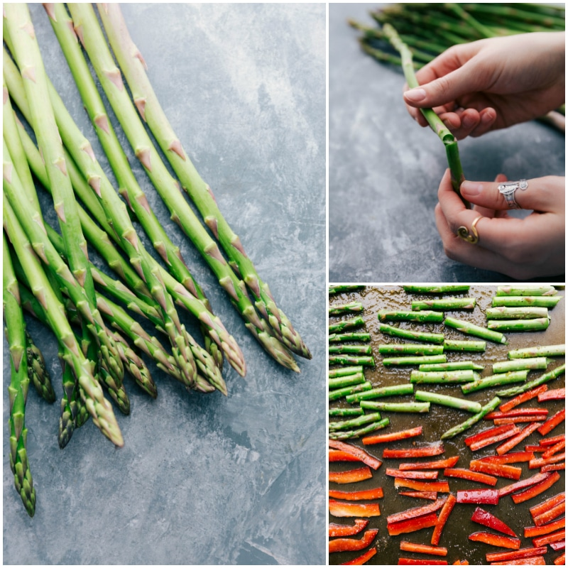 Process shot of veggies being cooked -- asparagus and red pepper