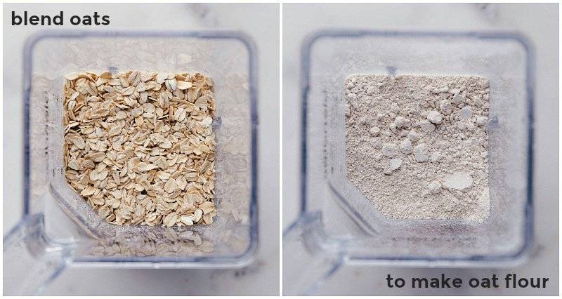 Image showing how oat flour is made: place oats in the blender; process until oats are pulverized into flour.
