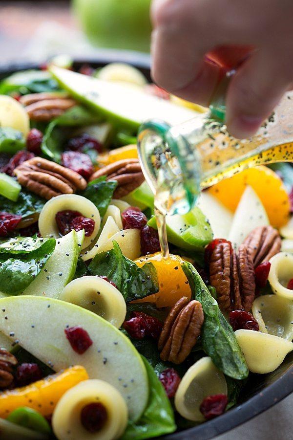 Autumn Pasta Cranberry Spinach Salad