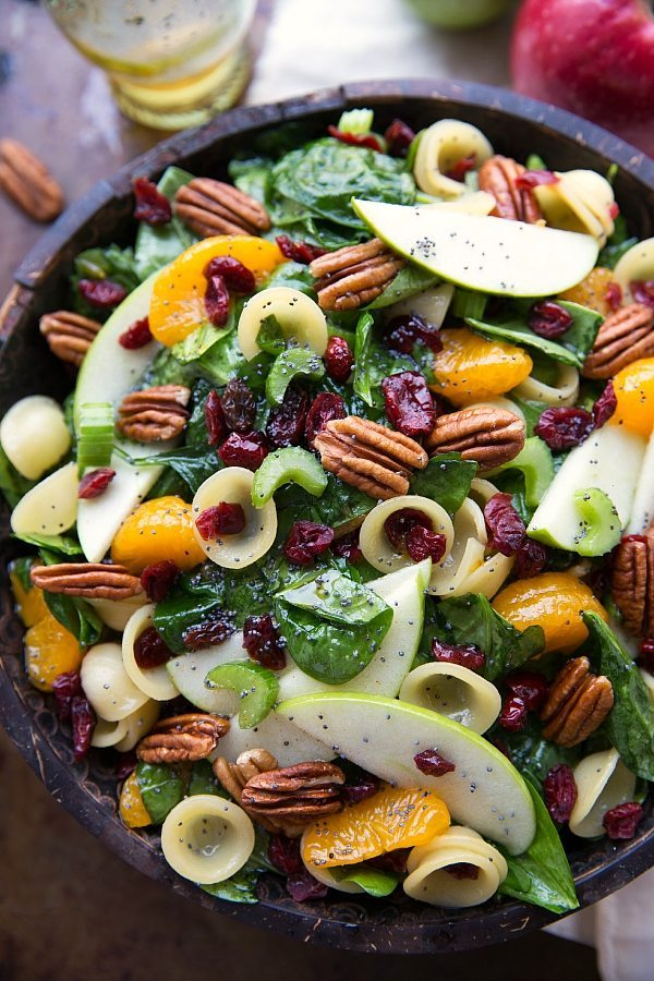 Delicious Cranberry Apple Spinach Pasta Salad