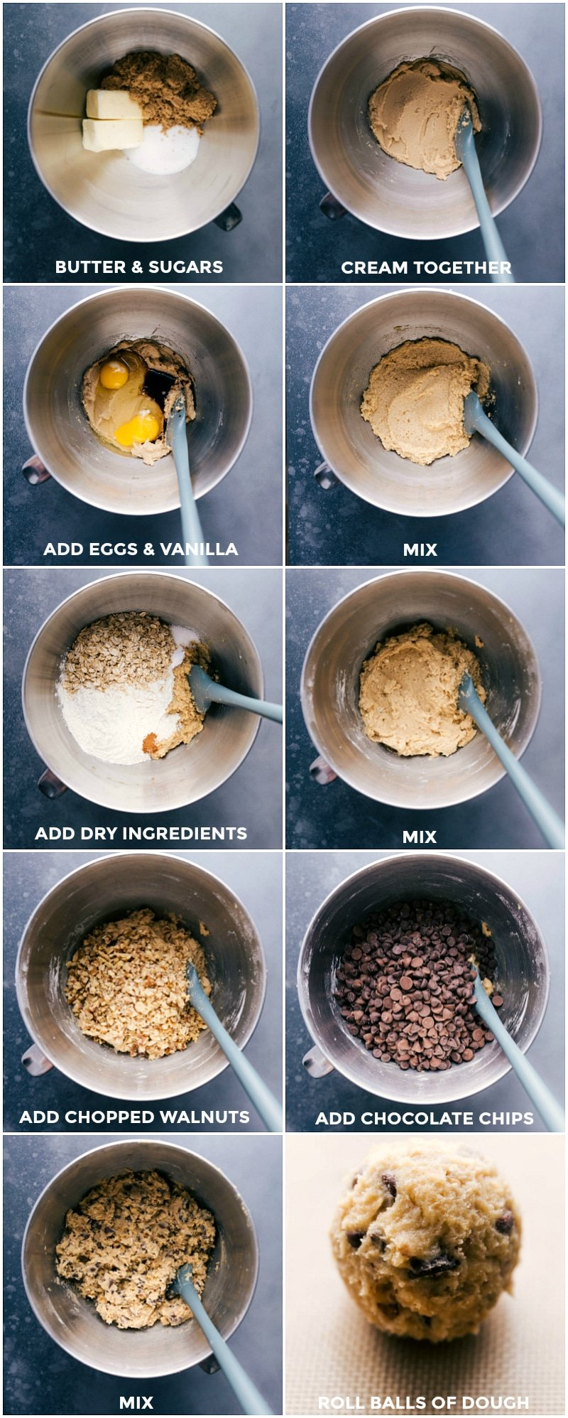 Process shots: butter and sugars in the bowl of a stand mixer; the ingredients creamed; adding eggs and vanilla; mixing again; adding dry ingredients; mixing; adding walnuts; adding chocolate chips; mixing again; rolling into dough balls.