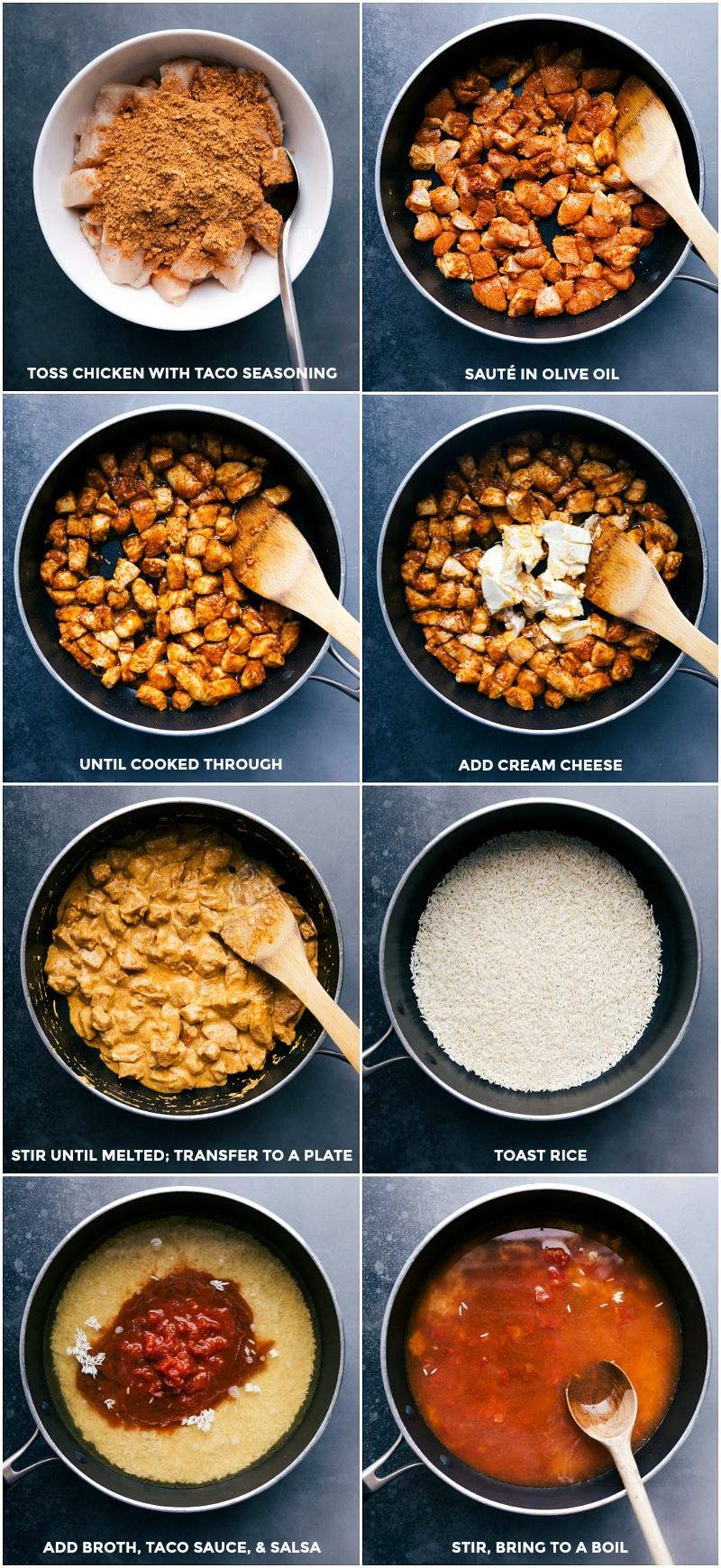 Process shots for making Mexican Chicken and Rice: toss chicken with taco seasoning blend; sauté in olive oil until cooked through; add cream cheese; stir to melt and then transfer to a plate; toast rice; add broth, taco sauce and salsa; bring to a boil and simmer, covered, until done.