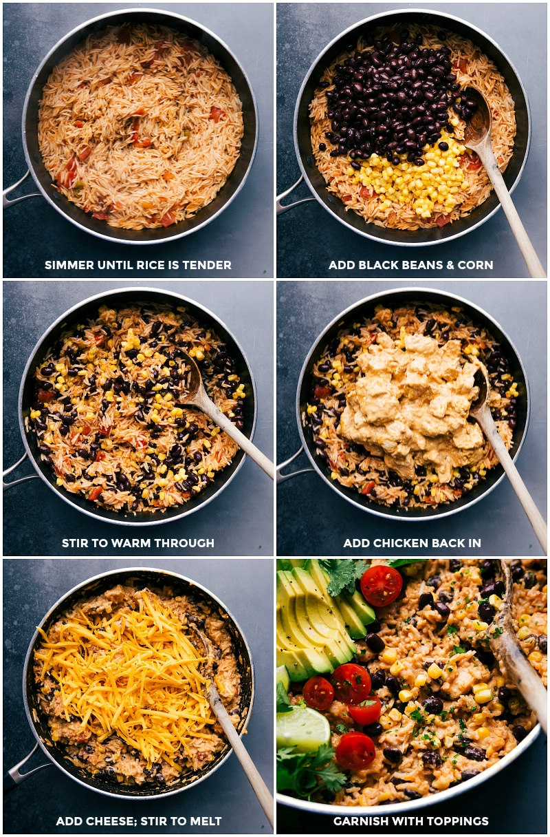 Process shots: simmer rice in broth until tender; add black beans and corn; stir to warm through; add cooked chicken back in; add cheese and stir to melt; garnish with your favorite toppings and serve.