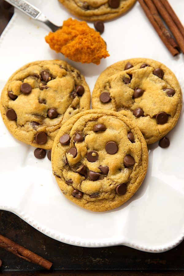 One Bowl and No mixer needed for these best ever pumpkin chocolate-chip cookies!
